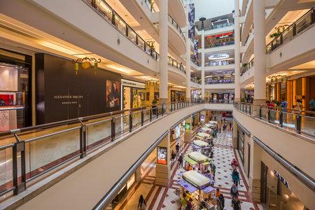 june 25: KUALA LUMPUR, MALAYSIA - June 25 : Suria KLCC shopping center on June 25, 2015, Kuala Lumpur, Malaysia. Located in Petronas Twin Towers Editorial