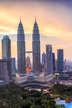 tower: Top view of Kuala Lumper skyline at twilight Stock Photo