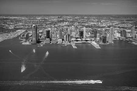 veiw: Aerial veiw of Jersey City skyline Stock Photo