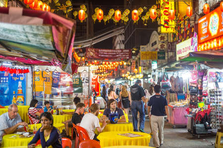 kl: KUALA LUMPUR, MALAYSIA - JUNE 25: Chinatown Street restaurant in heart of Kuala Lumpur, on June 25, 2015 in KL. Chinatown is very popular with tourists and locals.