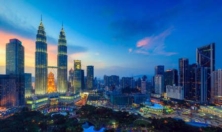 twilight: Top view of Kuala Lumper skyline at twilight Stock Photo