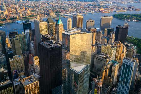veiw: Aerial veiw of Downtown Manhatton New York