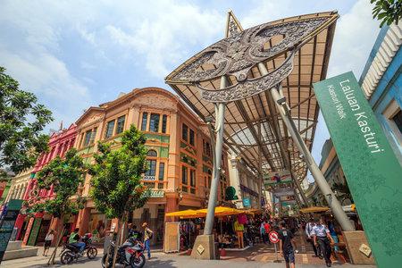 june 25: Kuala Lumpur, Malaysia - June 25: People walking and shopping around Kasturi Walk Central Market, Kuala Lumpur on June 25, 2015