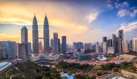 Top view of Kuala Lumper skyline at twilight 스톡 콘텐츠
