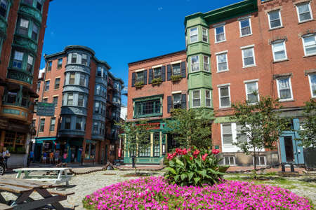 north end: BOSTON - AUGUST 13: Boston historic North End on August 13, 2015 in Boston, Massachusetts, USA.