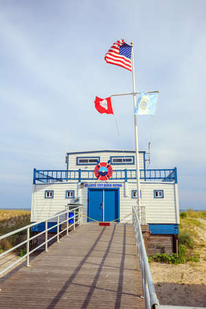 patrol: Atlantic City beach patrol building in New Jersey.