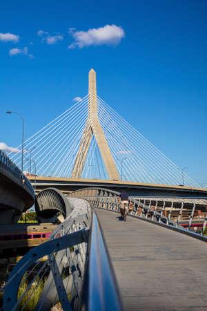 suspend: The Zakim Bridge  with blus sky in Boston, Massachusetts - USA.