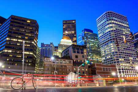 boston tea party: Financial District in downtown Boston at twilight, Massachusetts. Stock Photo