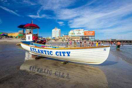 high rises: ATLANTIC CITY,  NEW JERSEY - August 3: The boardwalk and Casinos on August 3, 2015 in Atlantic City, New Jersey. Gambling was legalized in the city in 1976 and led to a resurgence. Editorial