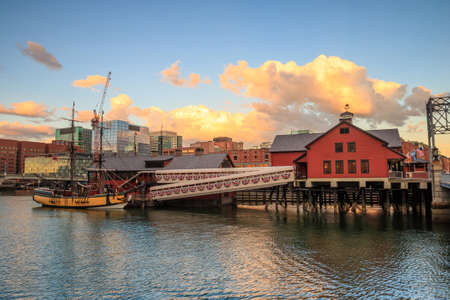 boston tea party: Boston Harbor and Financial District at sunset and Tea Party Ships & Museum in Boston, Massachusetts.