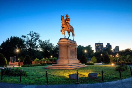 george washington statue: George Washington monument in Public Garden Boston Massachusetts USA