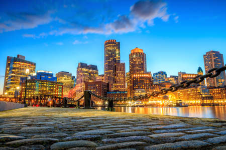 boston tea party: Boston Harbor and Financial District at twilight, Massachusetts.