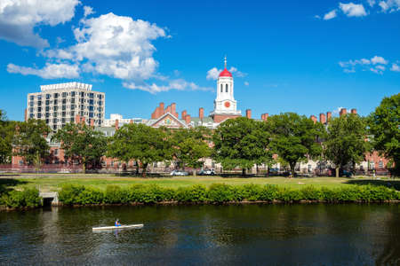ivy league: John W. Weeks Bridge with clock tower over Charles River in Harvard University campus Boston