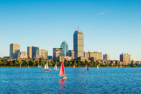 boston cityscape: View of Boston Skyline in summer afternoon