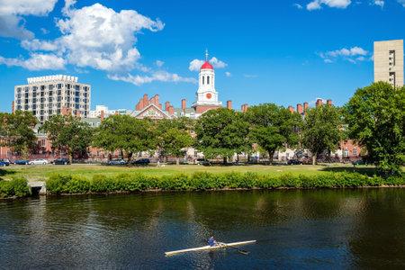 harvard university: John W. Weeks Bridge with clock tower over Charles River in Harvard University campus Boston