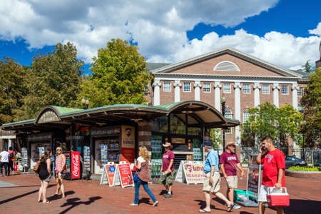 campus tour: BOSTON - August 13: The Harvard Square on August 13, 2015. It is a commercial center for Harvard students, as well as residents of western Cambridge and the inner western and northern suburbs of Boston. Editorial