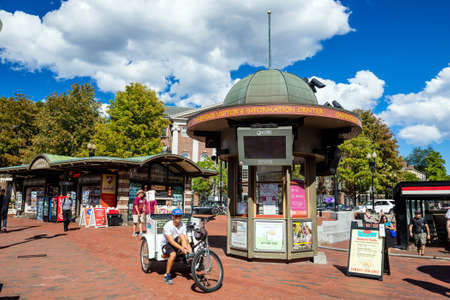 harvard: BOSTON - August 13: The Harvard Square on August 13, 2015. It is a commercial center for Harvard students, as well as residents of western Cambridge and the inner western and northern suburbs of Boston. Editorial
