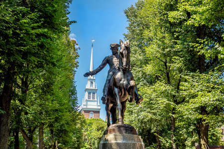 blue church: Paul Revere Statue and Old North Church in Boston, Massachusetts with blue sky