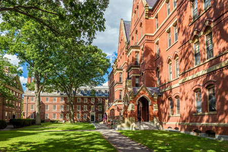 higher learning: CAMBRIDGE, USA - August 13: The Harvard University in Cambridge, MA, USA  on August 13, 2015. Established in 1636, is the oldest institution of higher learning and the first chartered in the USA Editorial