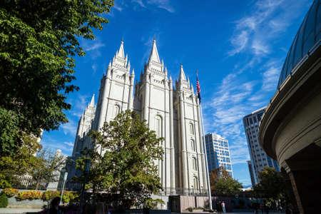 mormon temple: Fascade of Salt Lake Temple in Utah USA