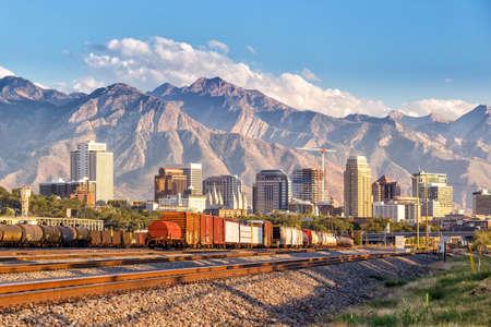 city: El centro de Salt Lake City horizonte de Utah en EE.UU. Foto de archivo