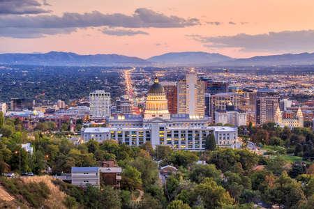 Salt Lake City skyline Utah di notte Archivio Fotografico
