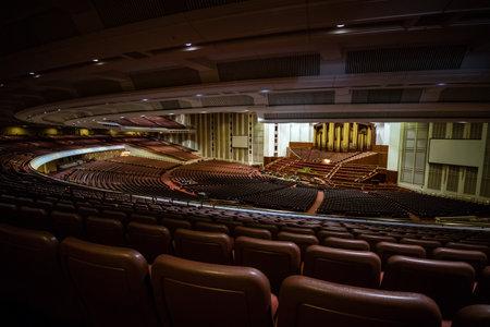 lds: SALT LAKE CITY, UTAH - OCTOBER 1: Interior of Salt Lake City Utah Mormon Church of Jesus Christ of Latter-day Saints conference center on October 1, 2015 in Salt Lake City, Utah USA