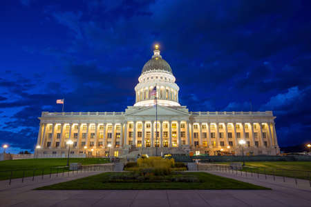election night: Utah State Capitol Building in Salt Lake City at night Stock Photo