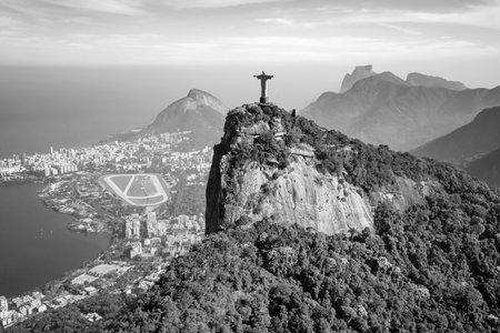 RIO DE JANEIRO, BRAZIL - JULY 17: Aerial view of Christ the Redeemer and Rio de Janeiro city on July 17, 2015.