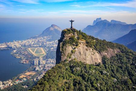 holy: Aerial view of Christ the Redeemer and Rio de Janeiro city, Brazil