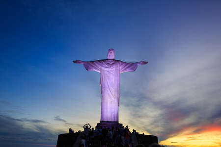 rio de janeiro: Christ the Redeemer statue in rio de janeiro in brazil at twilight