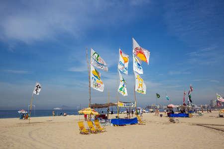 rio de janeiro: RIO DE JANEIRO - July 17: Olympic 2016 logo at Copacabana beach on July 17, 2015 in Rio de Janeiro, Brazil.