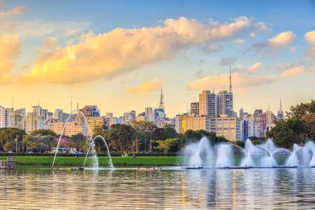 Sao Paulo skyline from Parque Ibirapuera park in Brazil 写真素材