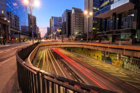 Paulista Avenue at twilight in Sao Paulo, Brazil Editorial