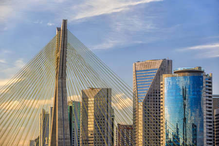 Octavio Frias de Oliveira Bridge in Sao Paulo Brazil South America Editorial