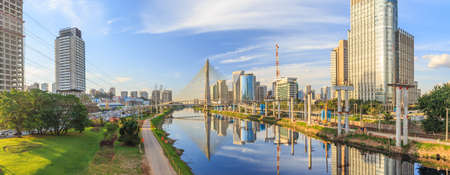 Octavio Frias de Oliveira Bridge in Sao Paulo Brazil South America Редакционное