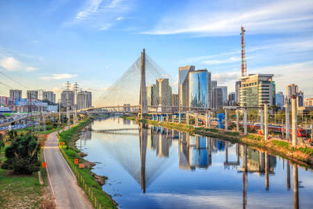 cable bridge: Octavio Frias de Oliveira Bridge in Sao Paulo Brazil South America Editorial