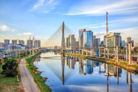 Octavio Frias de Oliveira Bridge in Sao Paulo Brazil South America Redactioneel