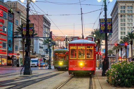 streetcar: NEW ORLEANS, USA - AUGUST 22: New Orleans Streetcar Line at downtown New Orleans on August 22, 2015. The New Orleans Streetcar line began electric operation in 1893.