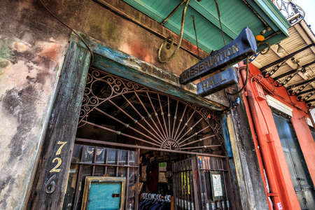 antiquated: NEW ORLEANS, LOUISIANA - AUGUST 25: Preservation Hall in New Orleans on August 25, 2015. Preservation Hall was established in 1961 to preserve, perpetuate, and protect traditional New Orleans Jazz. Editorial