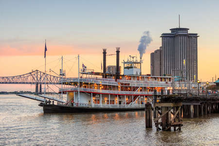 french: New Orleans paddle steamer in Mississippi river in New Orleans,   Louisiana