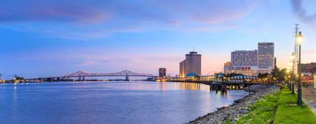 twilight: Downtown New Orleans, Louisiana and the Missisippi River at twilight