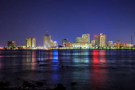 river: Downtown New Orleans, Louisiana and the Mississippi River at twilight Stock Photo