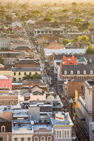 canal street: NEW ORLEANS, LOUISIANA - AUGUST 22: Top view of Bourbon Street  in the French Quarter, New Orleans on August 22, 2015. It extends 13 blocks from Canal Street to Esplanade Avenue.