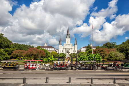 french: St. Louis Cathedral in the French Quarter, New Orleans, Louisiana
