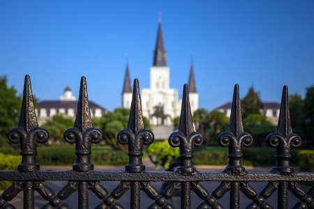 french quarter: Saint Louis Cathedral in the French Quarter in New Orleans, Louisiana.