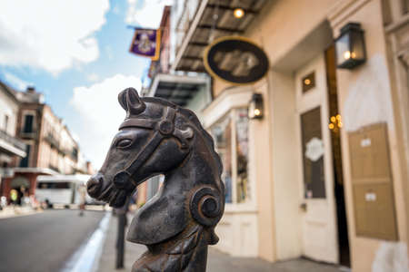 Horses head design on railings in Bourbon Street in the French Quarter of New Orleans Stock Photo - 51186460