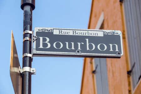 bourbon street: Bourbon Street sign in the French Quarter of New Orleans, Louisiana