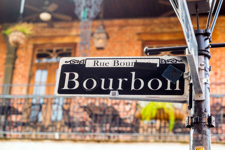 new building: Bourbon Street sign in the French Quarter of New Orleans, Louisiana