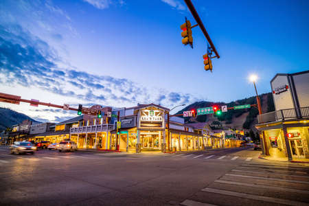 """JACKSON HOLE, WYOMING - SEPTEMBER 28: Downtown Jackson Hole in Wyoming USA on September 28, 2015 It was named after David Edward """"Davey"""" Jackson who trapped beaver in the area in the early nineteenth century."""